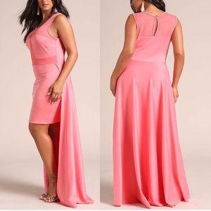 SALE !!! Plus Size Coral Hi Low Duster Maxi Dress